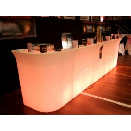 Banco bar Luminoso intero,3 moduli, resina bianca  240x80x110